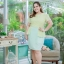 4 Size= M,L,XL,2XL ชุดเดรสเสื้อผ้าคอตตอลปักไหมญี่ปุ่นผ้านำเข้า สีเขียวปักฉลุสวยมาก แต่งระบายด้านข้างรอบสะโพก กระโปรงผ้า Varantino thumbnail 8