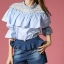 Sweet Bunny Present... Square shirring peal neck blouse with denim culottes pants set thumbnail 3