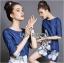 Lady Ribbon's Made Lady Elena Basic Insert Lace Denim Dress thumbnail 3