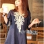 Lady Ribbon's Made Lady Claire Rich Embroidered Boho Cotton Dress สีน้ำเงินเข้มค่ะ thumbnail 3