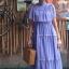 vintage dress : แม็กซี่เดรสสีม่วงลาเวนเดอร์แต่งระบาย แซมด้วยลูกไม้เป็นช่วงๆ แพทเทิร์นเข้ารูป ผ้าชีฟองเนื้อดีพร้อมซับใน thumbnail 4