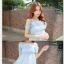 44907-ฟ้า ชุดเดรสสั้นสีฟ้า หน้าอกเย็บระบาย สวยเก๋ เปิดไหล่ สวยหวาน thumbnail 3