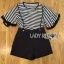 Lady Ribbon's Made &#x1F380 Lady Paula Street Minimal Hearty Striped Overall Shorts Set thumbnail 7