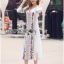 Lady Ribbon's Made Lady Lea Boho Colourful Flower Embroidered Midi Dress สีขาว thumbnail 3