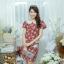 XL775 ชุดเดรสผ้า Canvas พื้นแดงลายดอก แต่งปก กระเป๋า ติดโบว์ ผ้าสีขาว เพิ่มความน่ารักให้กับชุด thumbnail 15