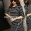 Lady Ribbon's Made Lady Julia Minimal Chic Striped Mini Dress สีดำ thumbnail 1