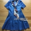 Lady Erin Casual Denim Shirt Dress with Printed Satin Scarf thumbnail 4