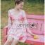 Lady Chloe Sweet Feminine Graphic Pink Floral Printed Dress พื้นสีครีมอ่อน thumbnail 3