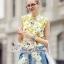 Sweet Bunny Present... Lemon Blossom Sleeveless Shirt and Denim Embroidered Daisy Skirt Set thumbnail 4