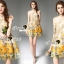 Seoul Secret Say's... Yellow Flora Girly Silkly Dress thumbnail 5