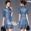 vintage high-end embroidery denim short sleeve dress by Aris Code thumbnail 3