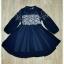 Sweet Bunny Present... Embroidery round brush chiffon Princess dress สีกรมท่า thumbnail 5