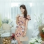 XL777ชุดเดรสผ้า Canvas พื้นส้มลายดอก แต่งปก กระเป๋า ติดโบว์ ผ้าสีขาว เพิ่มความน่ารักให้กับชุด thumbnail 14