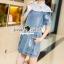 Seoul Secret Say's... Lacely Colar Denim Dress สีอ่อน thumbnail 3