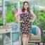 3 Size= XL,3XL,5XL ชุดเดรสสาวอวบ++ผ้า Sanfox พื้นดำ ทอลายดอกชมพู จุดเด่นของชุดนี้ตัดต่อด้านบน และแขนด้วยผ้า Hanako สีชมพู thumbnail 5