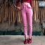 vintage pants : กางเกงยีนส์ขายาวเอวสูง สีชมพู กระเป๋าแต่งระบายหน้า/หลัง ปลายขาติดซิบ เนื้อผ้ายีนส์ไม่ยืด : thumbnail 3