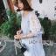Lady Ribbon's Made Lady Lara Relaxed Lace-Sleeve Pastel Blue Mini Dress with Ribbon thumbnail 3