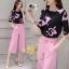 เสื้อ+กางเกง แบบแขนสามส่วนพิมพ์ลายดอกไม้โทนสีชมพู thumbnail 2