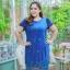 3 Size= ,2XL,3XL,4XL, ชุดเดรสสาวอวบ++ ผ้าชีฟองฉลุลายสีน้ำเงิน นำเข้าจากญี่ปุ่น แขนชีฟองระบาย 2 ชั้น thumbnail 13
