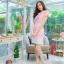 5 Size= M,L,XL, 3XL ,5XL ชุดเดรส-ชุดเดรสไซส์ใหญ่ ผ้า Hanako สีชมพู แต่งคอ ขอบเอว ชายกระโปรงสีขาวเพิ่มความเก๋ thumbnail 1