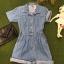 Vintage jumpsuit : จั๊มสูทยีนส์ขาสั้น เอวจั๊มหลัง ผ้ายีนส์เนื้อไม่หนา thumbnail 3