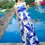 Lady Grace Sexy Elegant White and Blue Printed Cut-Out Back Maxi Dress thumbnail 1