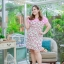 3 Size= XL,3XL,5XL ชุดเดรสสาวอวบ++ผ้า Sanfox พื้นขาว ทอลายดอกชมพู จุดเด่นของชุดนี้ตัดต่อด้านบน และแขนด้วยผ้า Hanako สีชมพู thumbnail 7