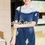 Seoul Secret Say's... Lacely Colar Denim Dress สีเข้ม thumbnail 4
