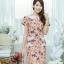 XL777ชุดเดรสผ้า Canvas พื้นส้มลายดอก แต่งปก กระเป๋า ติดโบว์ ผ้าสีขาว เพิ่มความน่ารักให้กับชุด thumbnail 12