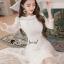 Seoul Secret Say's... Princess Curly Shoulder Off White Dress thumbnail 2