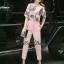 Sweet Bunny Present... Fan Print Zipper Top Pinky Pants Set With Belt thumbnail 2