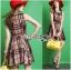 Lady Ribbon's Made Lady Cris British Elegant Check Printed Beige Dress สีเบจ thumbnail 2