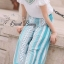 Cut off embroidery white blouse and blue stripe print flares set by Sweet Bunny thumbnail 3