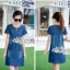 Korean lady love denim jeans short sleeve dress by Aris Code thumbnail 3