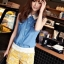 เสื้อแฟชั่น แขนกุด ผ้ายีนส์ คอปกผ้าตาข่าย เสื้อสีน้ำเงิน รหัส 44137-น้ำเงิน thumbnail 1
