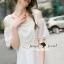 Seoul Secret Say's... Open Shoulder Pearly&Diamond Furnish Dress สีขาว thumbnail 3