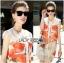 Lady Kimberley Smart Casual Holiday Orange Flower Printed Chiffon Dress thumbnail 2