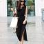 ชุดเดรสยาว ผ้าชีฟอง แขนกุด คอกลม สีดำ thumbnail 1