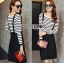Lady Ribbon's Made Lady Elena Super Chic Striped Wool Knit Sweater and Overall Dress สีดำ thumbnail 1