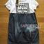 Lady Ribbon's Made Lady Natalie Street Chic Printed Jersey with Denim Mini Dress สีขาว thumbnail 6