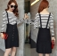 Lady Ribbon's Made Lady Elena Super Chic Striped Wool Knit Sweater and Overall Dress สีดำ thumbnail 2