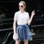 Korea Design By Lavida Luxury white premium lace top denim skirt pretty set thumbnail 3