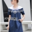 Lady Wendy Embroidered Denim Dress with Frilled Cotton Neck thumbnail 1