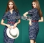 Lady Ribbon's Made Lady Kristen Floral Printed Denim Shirt Dress with Red Belt thumbnail 2