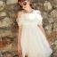 44907-ขาว ชุดเดรสสั้นสีขาว หน้าอกเย็บระบาย สวยเก๋ เปิดไหล่ สวยหวาน thumbnail 1