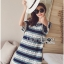 Lady Catherine Colourful Striped Lace Dress with Ruffled Sleeves thumbnail 4