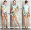 Lady Jennifer Casual Vivid Color Mix Printed Chiffon Dress สีฟ้า thumbnail 5