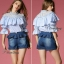 Sweet Bunny Present... Square shirring peal neck blouse with denim culottes pants set thumbnail 4