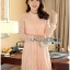 Lady Ribbon's Made Lady Nara Classic Striped High-Neck Lace Dress สีชมพู thumbnail 1