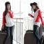 เสื้อยืด แขนยาว คอกลม เสื้อสีขาวแขนสีแดง รหัส 44109-แดง thumbnail 4
